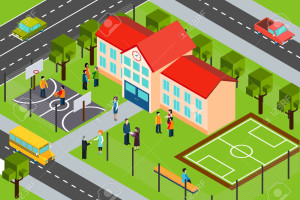 High school educational facility building with outdoor sport complex and school bus isometric banner abstract vector illustration